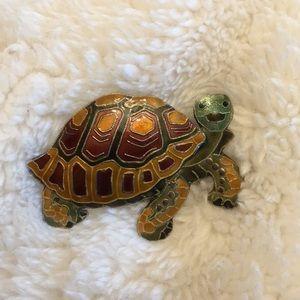 Sterling 925 enamel happy turtle brooch pin